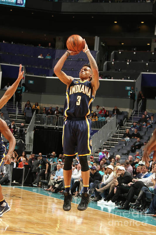 Nba Pro Basketball Art Print featuring the photograph Indiana Pacers V Charlotte Hornets by Kent Smith