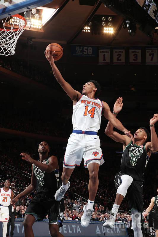 Nba Pro Basketball Art Print featuring the photograph Milwaukee Bucks V New York Knicks by Nathaniel S. Butler