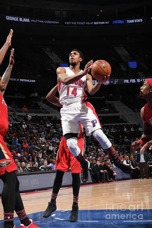 Nba Pro Basketball Art Print featuring the photograph New Orleans Pelicans V Detroit Pistons by Chris Schwegler