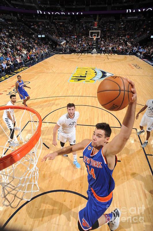 Guillermo Hernangómez Geuer Art Print featuring the photograph New York Knicks V Denver Nuggets by Garrett Ellwood