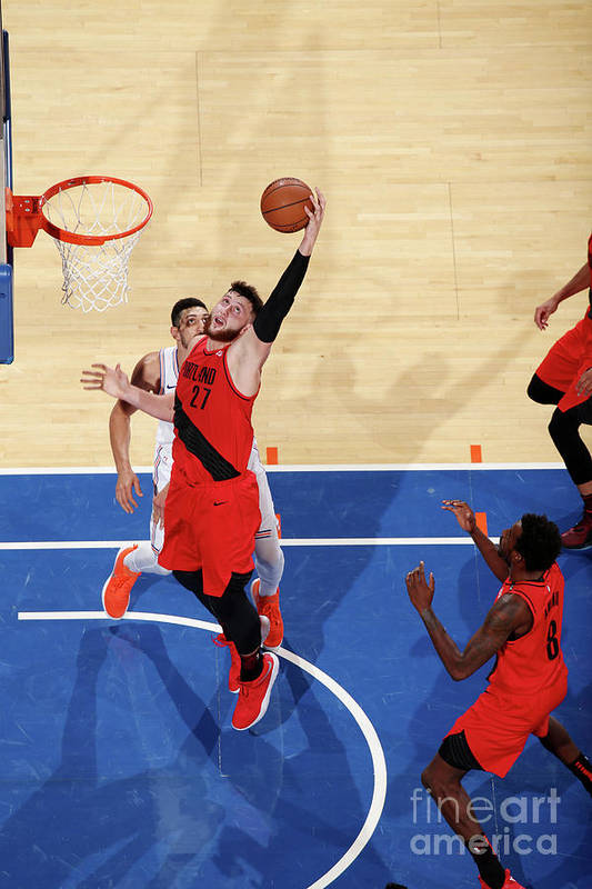 Jusuf Nurkić Art Print featuring the photograph Portland Trail Blazers V New York Knicks by Nathaniel S. Butler