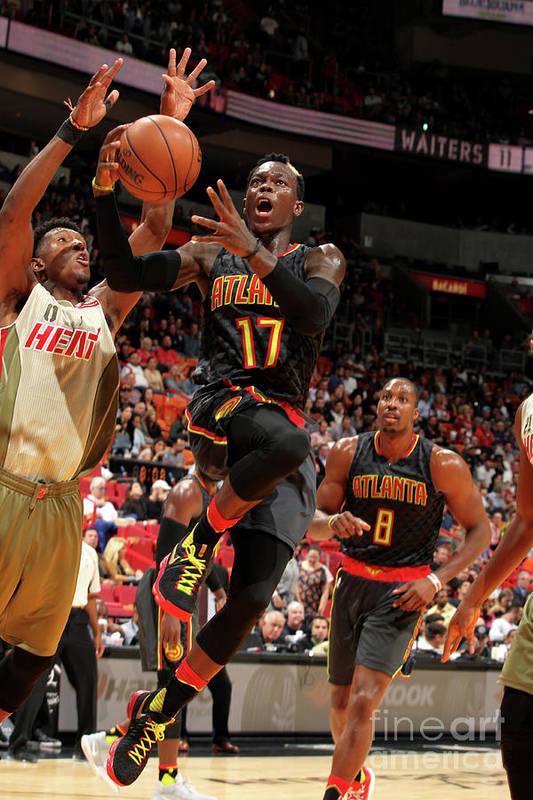 Nba Pro Basketball Art Print featuring the photograph Atlanta Hawks V Miami Heat by Oscar Baldizon