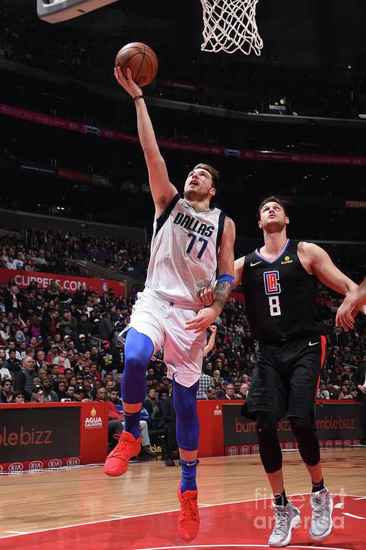 Nba Pro Basketball Art Print featuring the photograph Dallas Mavericks V La Clippers by Adam Pantozzi
