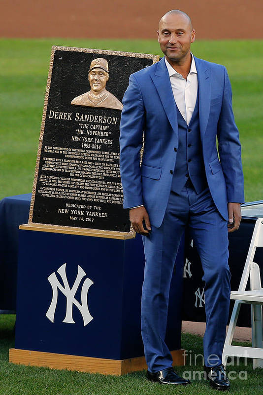 People Art Print featuring the photograph Derek Jeter Ceremony by Rich Schultz