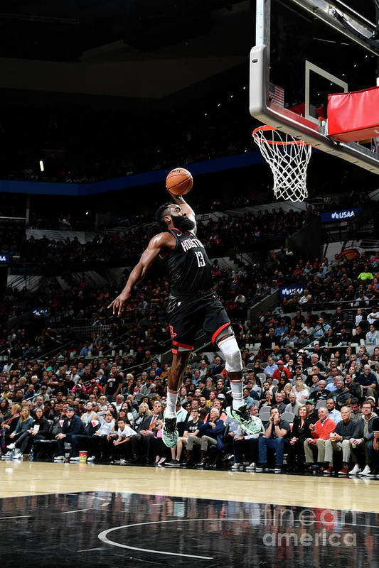 Nba Pro Basketball Art Print featuring the photograph Houston Rockets V San Antonio Spurs by Logan Riely