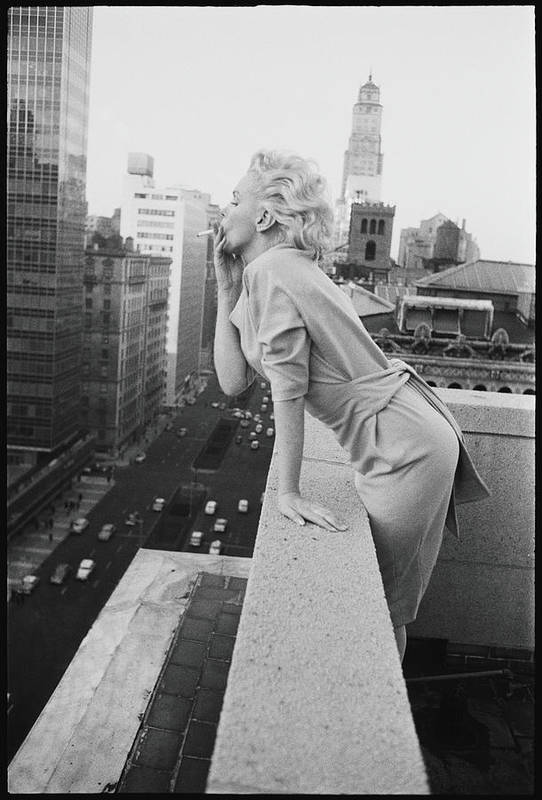 Smoking Art Print featuring the photograph Marilyn On The Roof by Michael Ochs Archives
