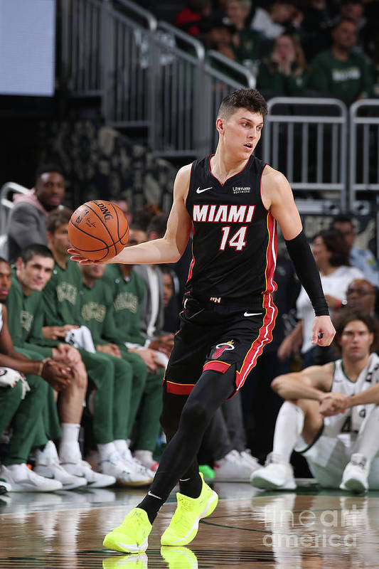 Tyler Herro Art Print featuring the photograph Miami Heat V Milwaukee Bucks by Gary Dineen