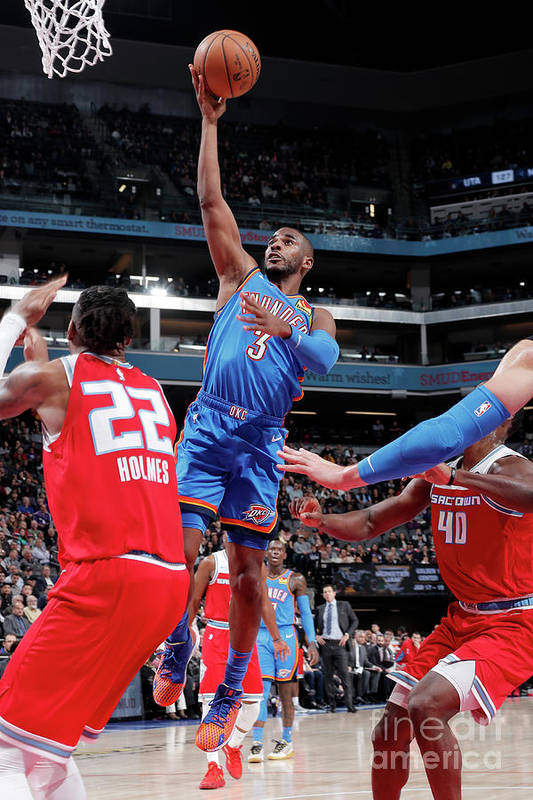 Nba Pro Basketball Art Print featuring the photograph Oklahoma City Thunder V Sacramento Kings by Rocky Widner