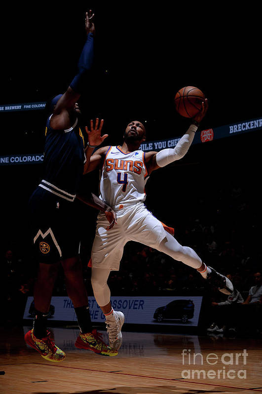 Nba Pro Basketball Art Print featuring the photograph Phoenix Suns V Denver Nuggets by Bart Young
