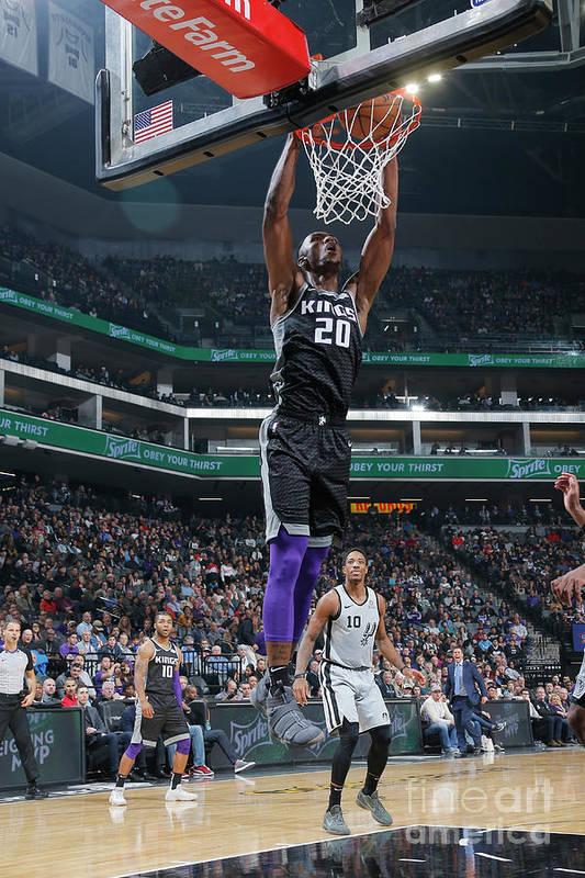 Nba Pro Basketball Art Print featuring the photograph San Antonio Spurs V Sacramento Kings by Rocky Widner