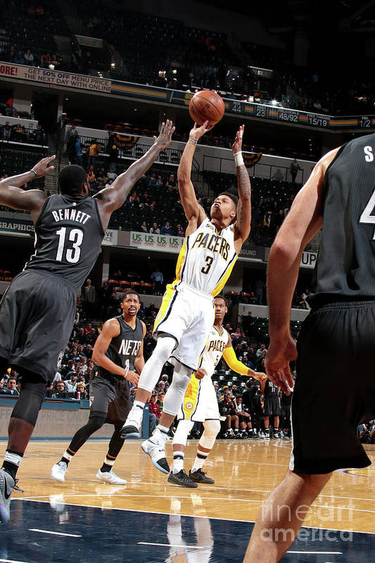 Nba Pro Basketball Art Print featuring the photograph Brooklyn Nets V Indiana Pacers by Ron Hoskins