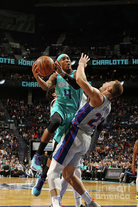 Nba Pro Basketball Art Print featuring the photograph Detroit Pistons V Charlotte Hornets by Brock Williams-smith