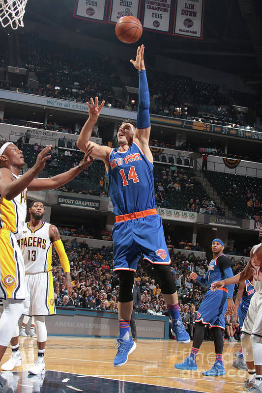 Guillermo Hernangómez Geuer Art Print featuring the photograph New York Knicks V Indiana Pacers by Ron Hoskins