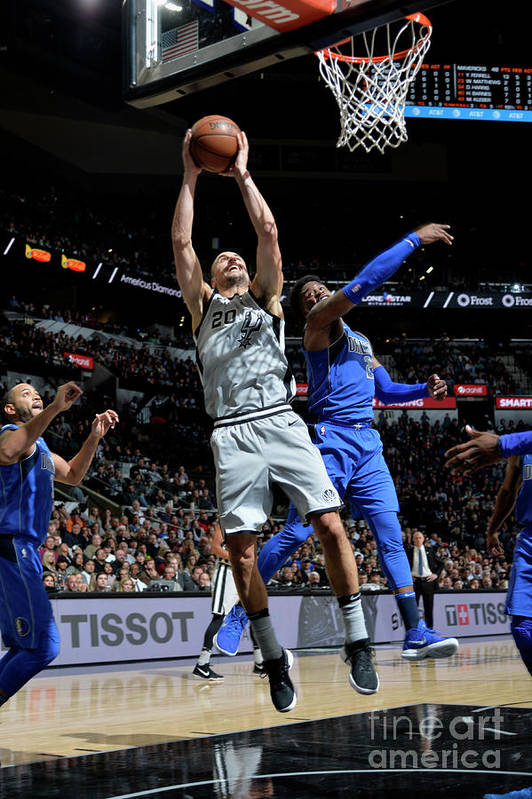 Nba Pro Basketball Art Print featuring the photograph Dallas Mavericks V San Antonio Spurs by Mark Sobhani