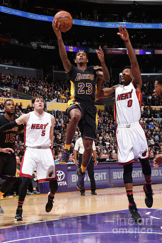 Nba Pro Basketball Art Print featuring the photograph Miami Heat V Los Angeles Lakers by Andrew D. Bernstein