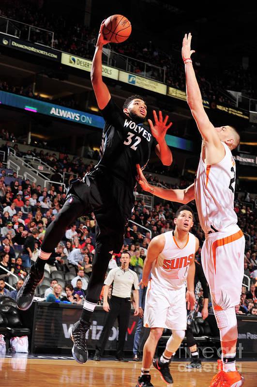 Nba Pro Basketball Art Print featuring the photograph Minnesota Timberwolves V Phoenix Suns by Barry Gossage