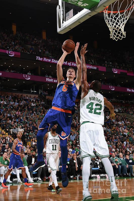 Nba Pro Basketball Art Print featuring the photograph New York Knicks V Boston Celtics by Brian Babineau