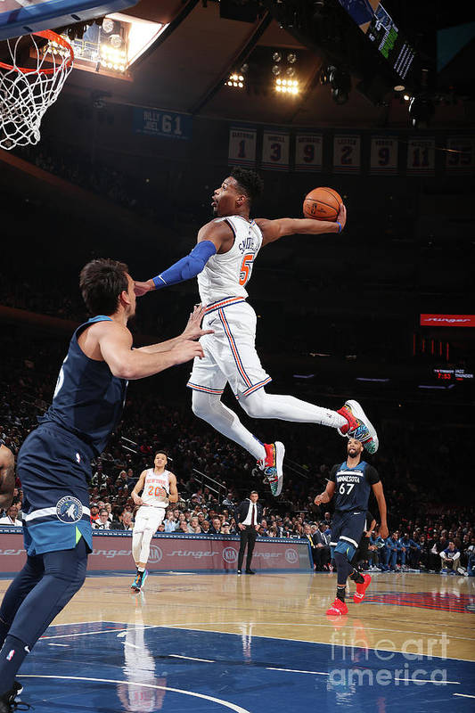 Nba Pro Basketball Art Print featuring the photograph Minnesota Timberwolves V New York Knicks by Nathaniel S. Butler
