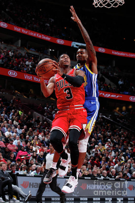 Nba Pro Basketball Art Print featuring the photograph Golden State Warriors V Chicago Bulls by Jeff Haynes