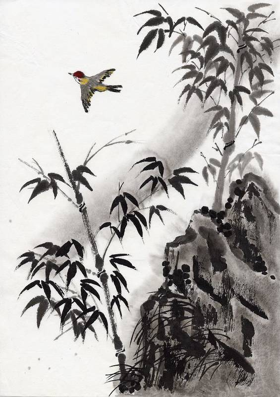 Scenics Art Print featuring the digital art A Bird And Bamboo Leaves, Ink Painting by Daj