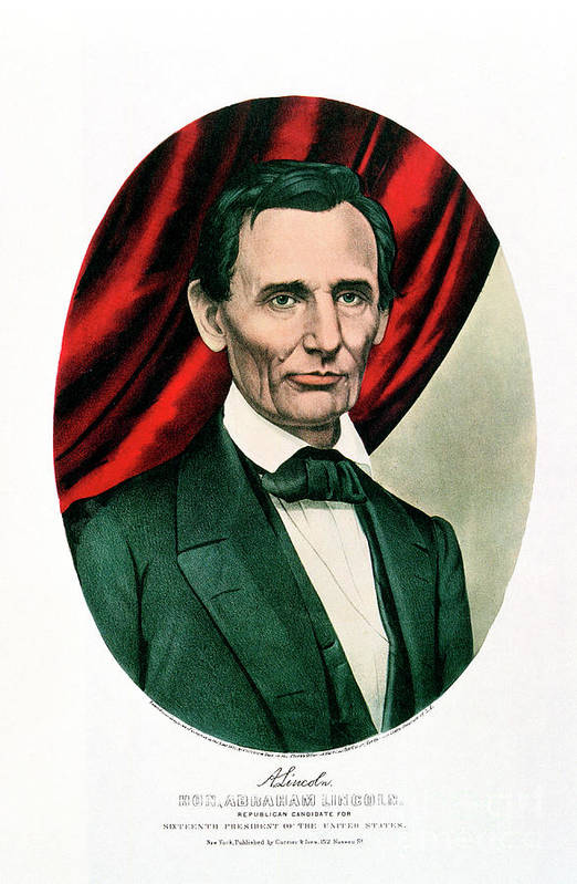 1865 Art Print featuring the drawing Abraham Lincoln 1809-65, C1865. Artist by Print Collector