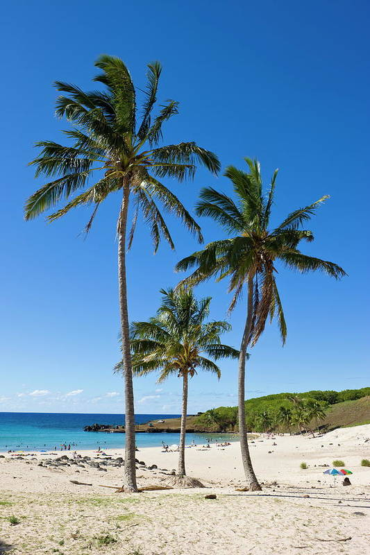Scenics Art Print featuring the photograph Anakena Beach, The Islands White Sand by Gavin Hellier / Robertharding