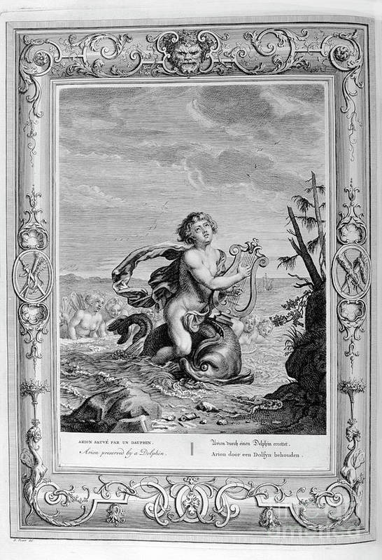 Singer Art Print featuring the drawing Arion Saved By A Dolphin, 1733. Artist by Print Collector