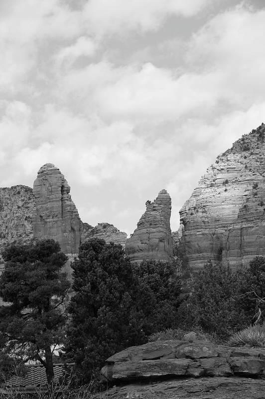 Scenics Art Print featuring the photograph Arizona Mountain Red Rock Monochrome by Sassy1902