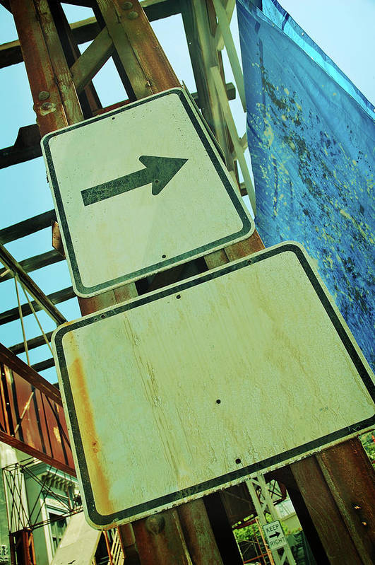 Aging Process Art Print featuring the photograph Arrow Sign by Naphtalina