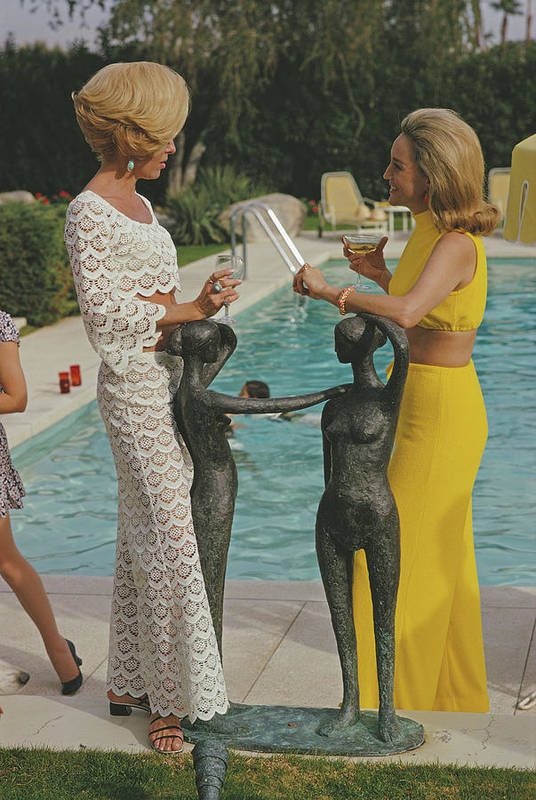 Fashion Model Art Print featuring the photograph At The Kaufmann Desert House by Slim Aarons