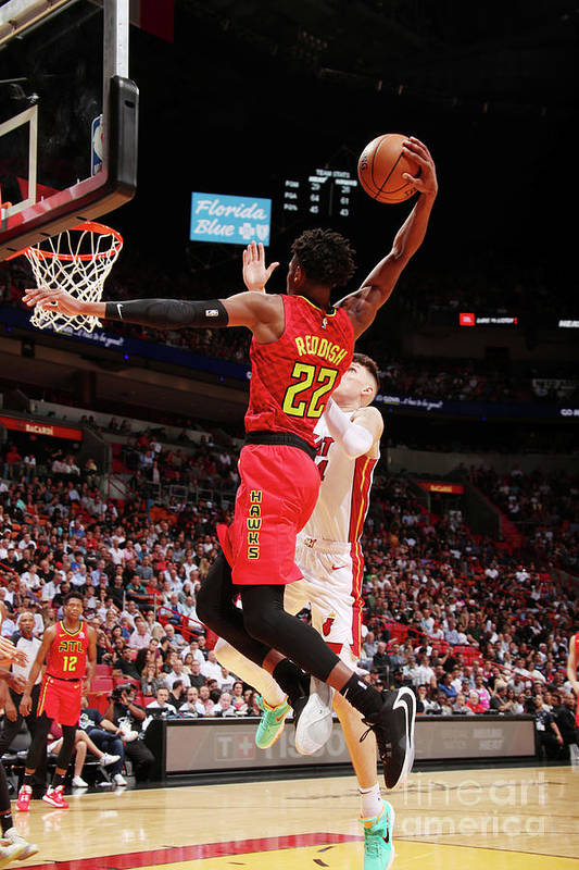 Nba Pro Basketball Art Print featuring the photograph Atlanta Hawks V Miami Heat by Issac Baldizon