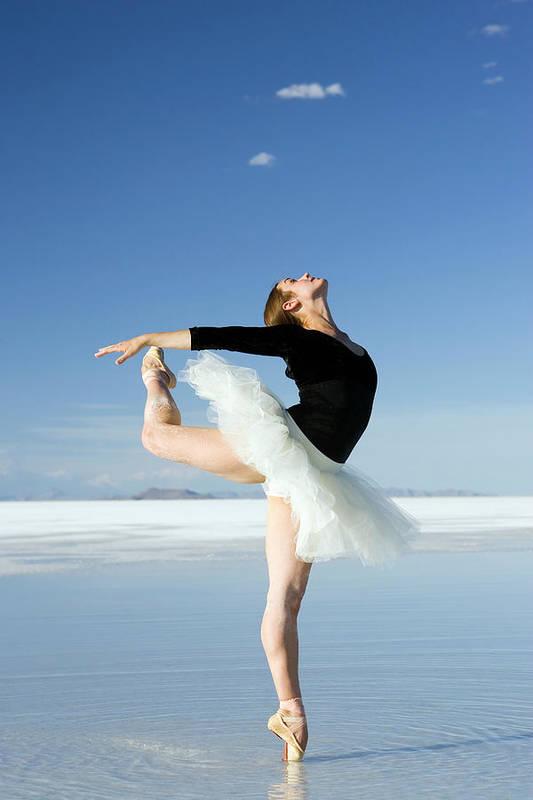 Ballet Dancer Art Print featuring the photograph Ballerina Tip Toe Pose by Avid creative