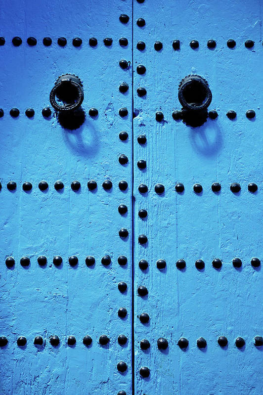 Shadow Art Print featuring the photograph Blue Moroccan Door by Kelly Cheng Travel Photography