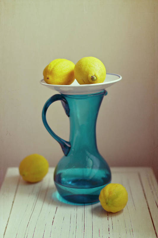 Healthy Eating Art Print featuring the photograph Blue Pitcher With Lemons On White Plate by Copyright Anna Nemoy(xaomena)