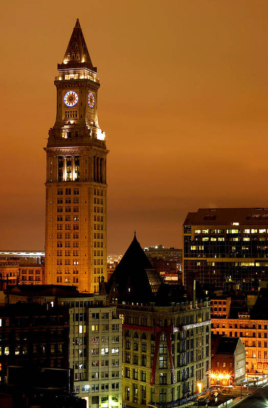 Scenics Art Print featuring the photograph Boston Clock Tower - Custom House by Jsmith