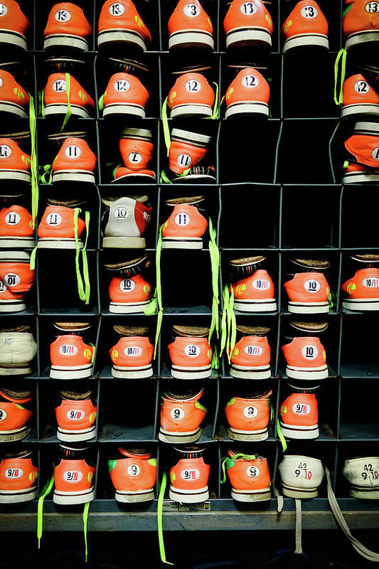 Orange Color Art Print featuring the photograph Bowling Shoes by Christian Bird