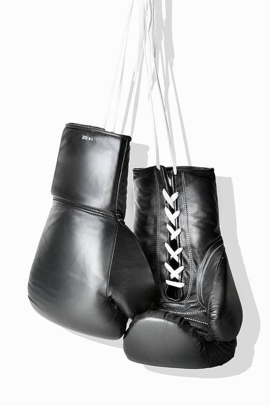 Hanging Art Print featuring the photograph Boxing Gloves Hanging Against White by Burazin