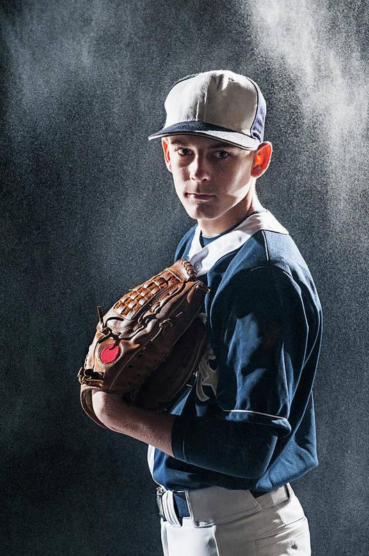 Baseball Cap Art Print featuring the photograph Caucasian Baseball Player Standing by Erik Isakson