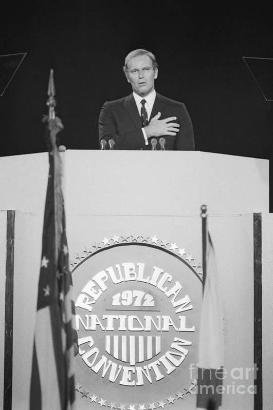 People Art Print featuring the photograph Charlton Heston Leading The Pledge by Bettmann