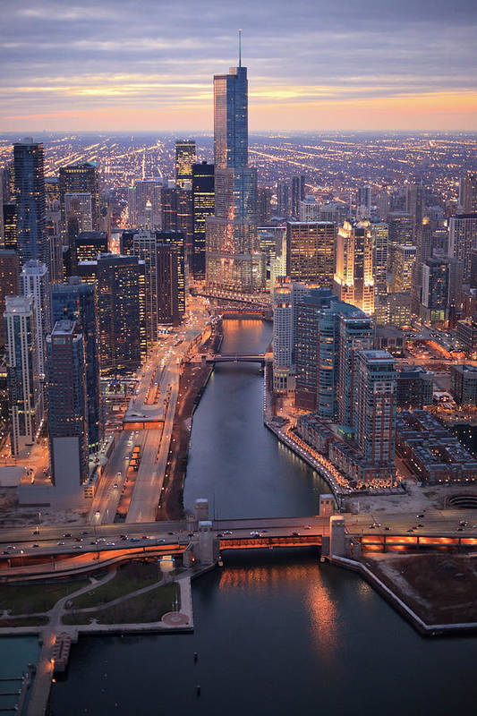 Tranquility Art Print featuring the photograph Chicago Downtown - Aerial View by Berthold Trenkel