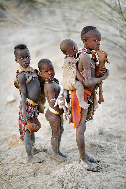 Tribe Art Print featuring the photograph Children Of The Omo by Trevor Cole