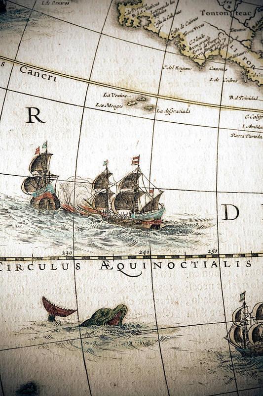 Engraving Art Print featuring the digital art Circulus Aequinoctalis, Historical Map by Goldhafen