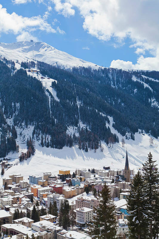 Snow Art Print featuring the photograph Cityscape Of Davos, Grisons, Switzerland by Werner Dieterich