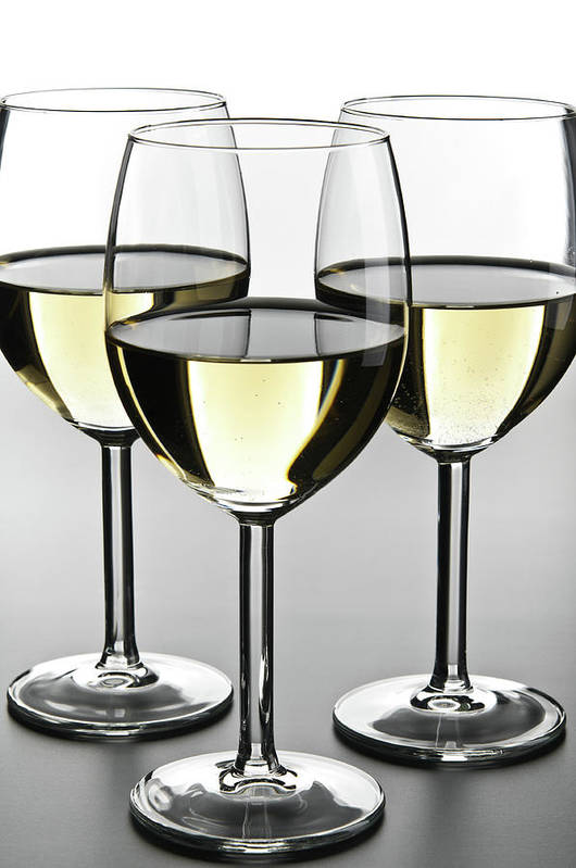 Alcohol Art Print featuring the photograph Close-up Of Three White Wine Glasses by Domin domin