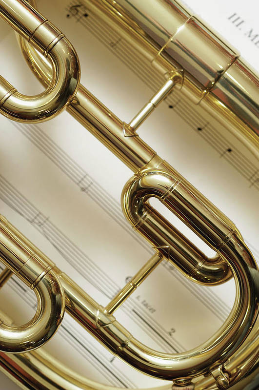 Sheet Music Art Print featuring the photograph Close-up Of Trumpet by Medioimages/photodisc
