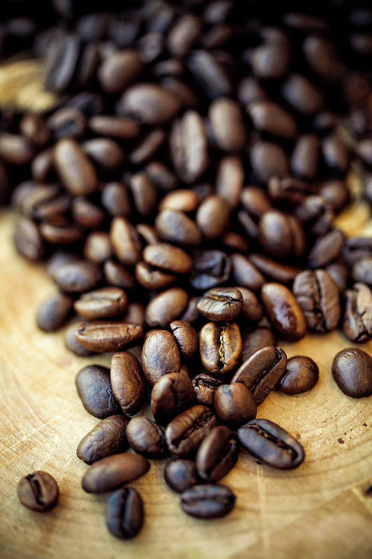 Black Color Art Print featuring the photograph Coffee Beans by Chang