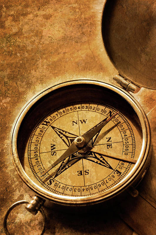 East Art Print featuring the photograph Compass On Old Texture by Dny59