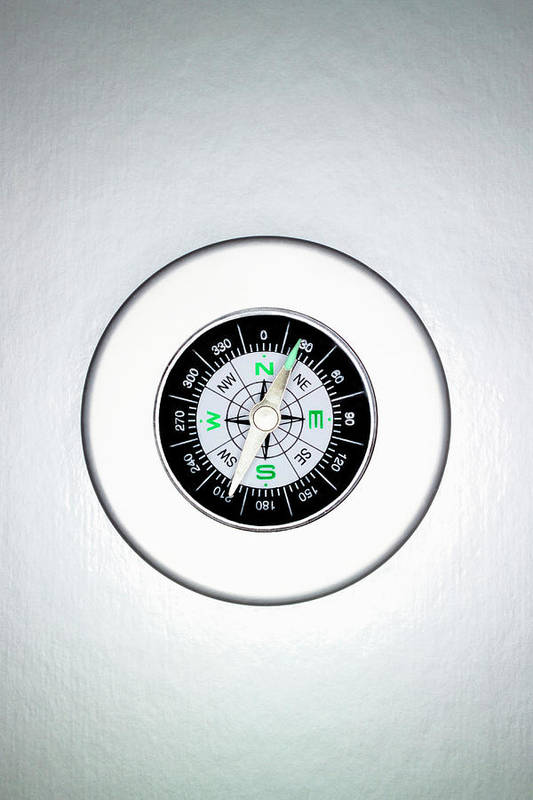 White Background Art Print featuring the photograph Compass, Overhead View by Martin Poole