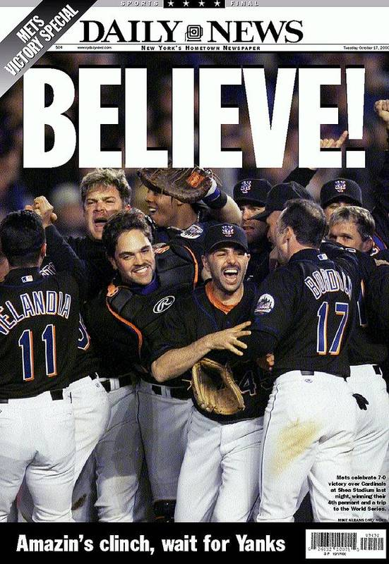 American League Baseball Art Print featuring the photograph Daily News Front Page Of Wrap, Believe by New York Daily News Archive