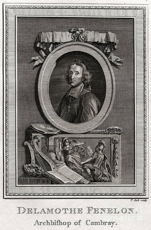 Engraving Art Print featuring the drawing Delamothe Fenelon, 1777. Artist T Cook by Print Collector